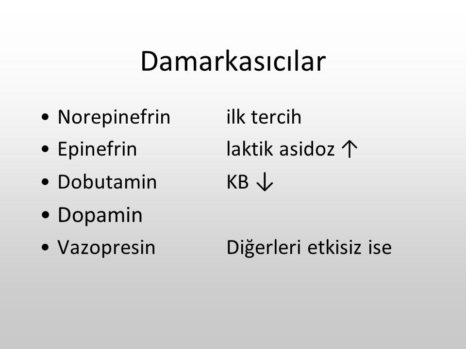 Damarkasıcılar Dopamin Norepinefrin ilk tercih