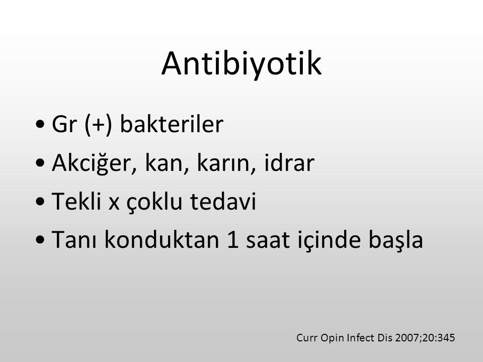 Antibiyotik Gr (+) bakteriler Akciğer, kan, karın, idrar