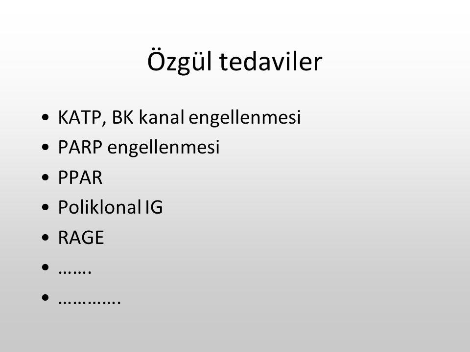 Özgül tedaviler KATP, BK kanal engellenmesi PARP engellenmesi PPAR