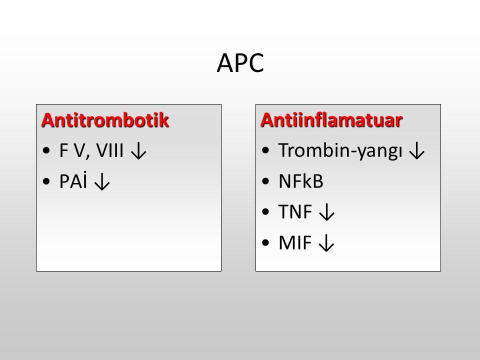 APC Antitrombotik F V, VIII ↓ PAİ ↓ Antiinflamatuar Trombin-yangı ↓