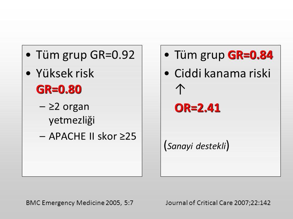 Tüm grup GR=0.92 Yüksek risk GR=0.80 Tüm grup GR=0.84