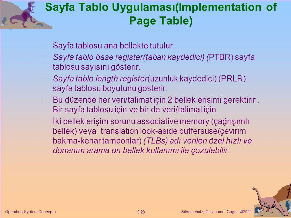 Sayfa Tablo Uygulaması(Implementation of Page Table)