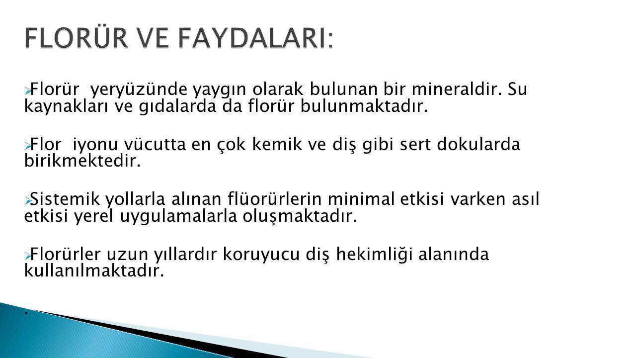 FLORÜR VE FAYDALARI: Florür yeryüzünde yaygın olarak bulunan bir mineraldir. Su kaynakları ve gıdalarda da florür bulunmaktadır.
