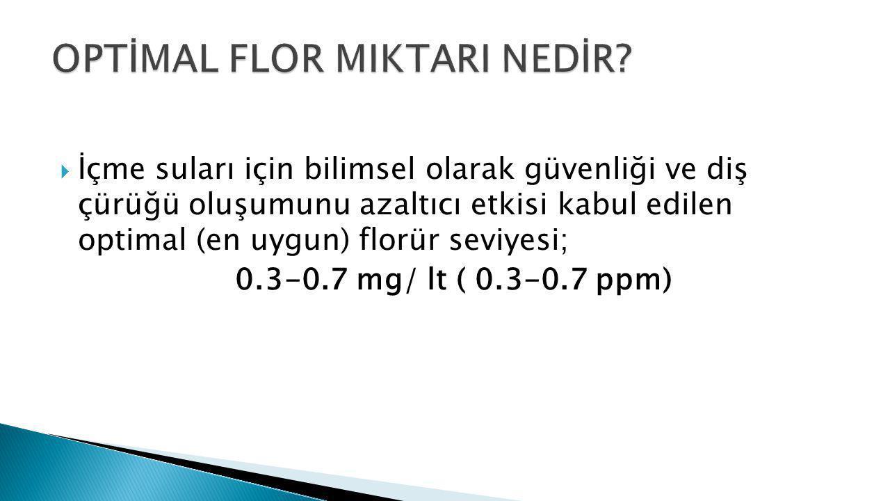 OPTİMAL FLOR MIKTARI NEDİR