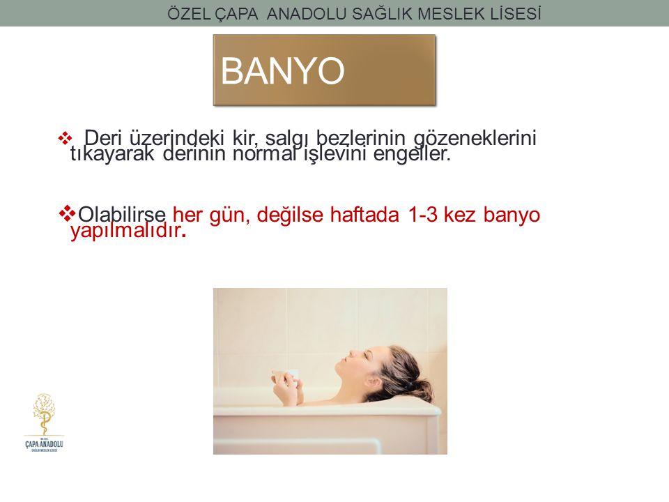 BANYO Olabilirse her gün, değilse haftada 1-3 kez banyo yapılmalıdır.