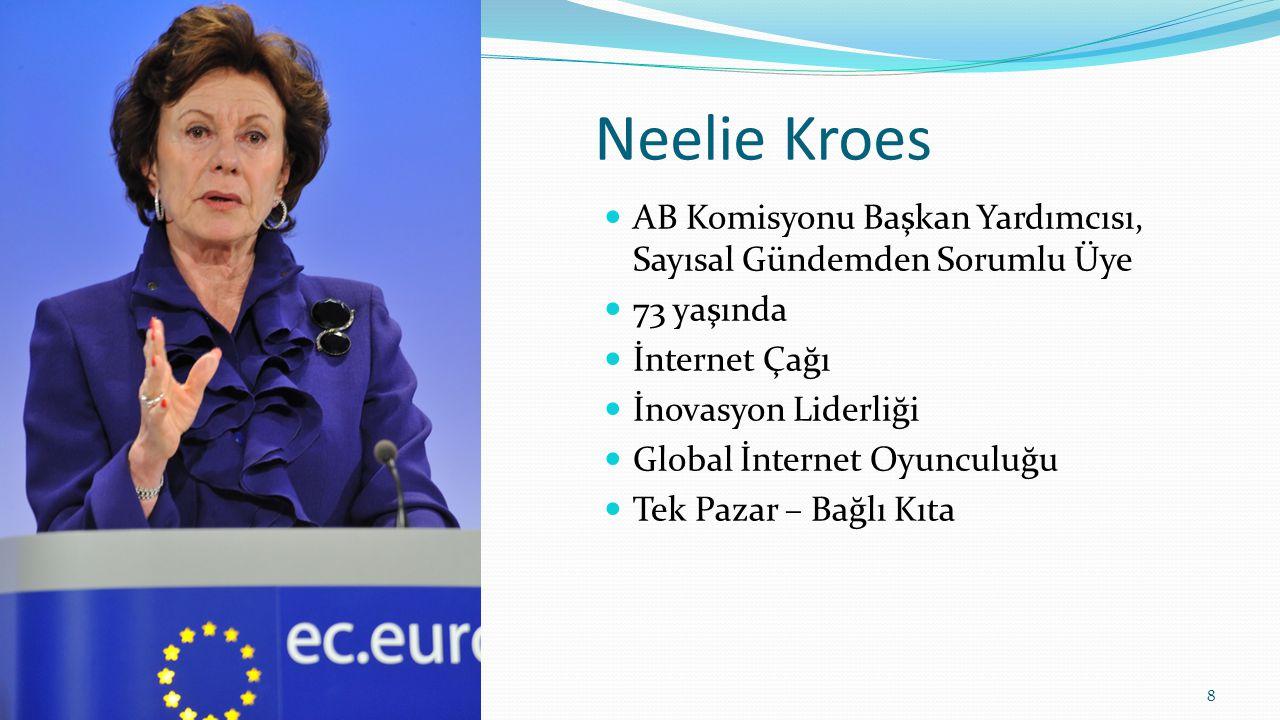 Neelie Kroes AB Komisyonu Başkan Yardımcısı, Sayısal Gündemden Sorumlu Üye. 73 yaşında. İnternet Çağı.