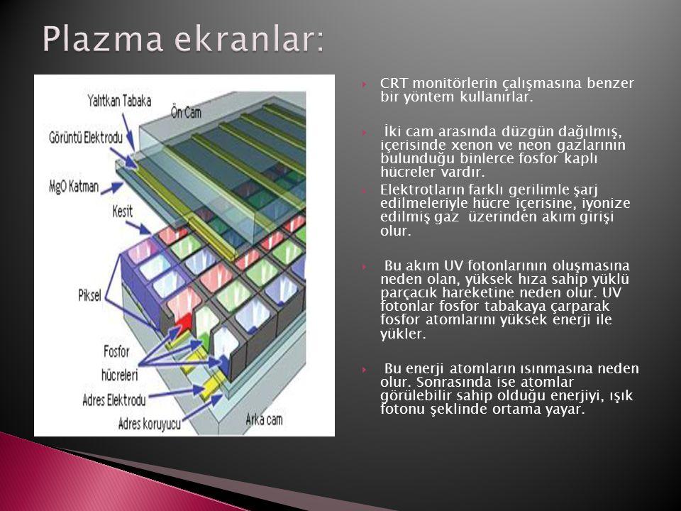 Plazma ekranlar: CRT monitörlerin çalışmasına benzer bir yöntem kullanırlar.