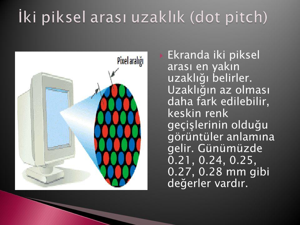 İki piksel arası uzaklık (dot pitch)