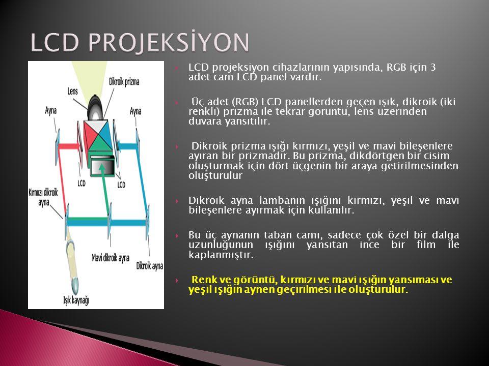 LCD PROJEKSİYON LCD projeksiyon cihazlarının yapısında, RGB için 3 adet cam LCD panel vardır.