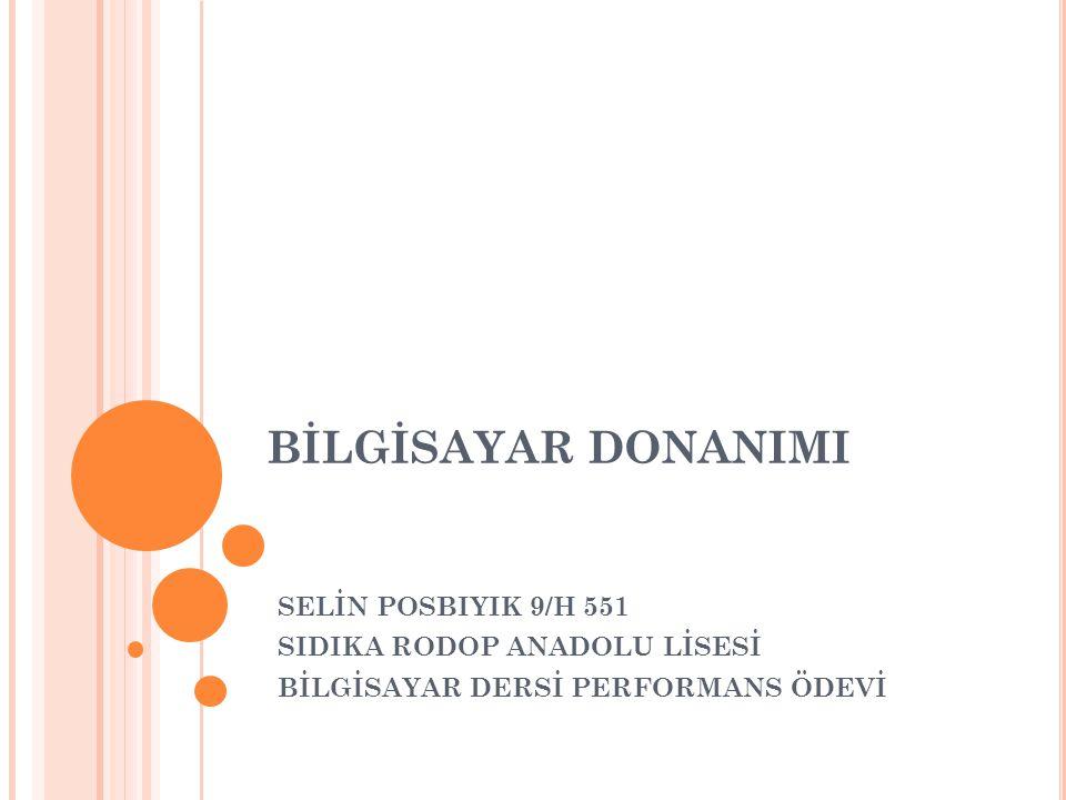 BİLGİSAYAR DONANIMI SELİN POSBIYIK 9/H 551 SIDIKA RODOP ANADOLU LİSESİ