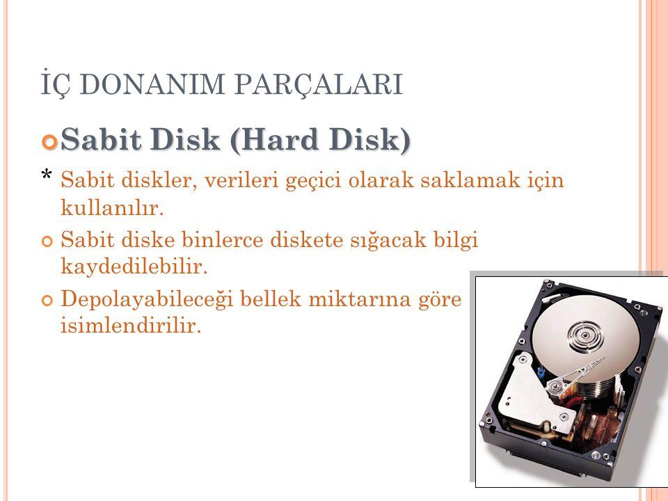 Sabit Disk (Hard Disk) İÇ DONANIM PARÇALARI