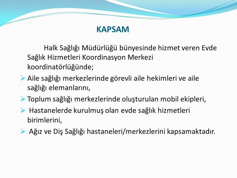KAPSAM Halk Sağlığı Müdürlüğü bünyesinde hizmet veren Evde Sağlık Hizmetleri Koordinasyon Merkezi koordinatörlüğünde;