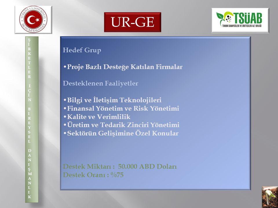 UR-GE Hedef Grup •Proje Bazlı Desteğe Katılan Firmalar