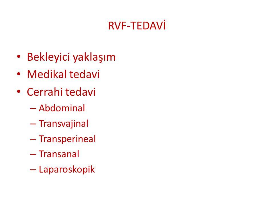 RVF-TEDAVİ Bekleyici yaklaşım Medikal tedavi Cerrahi tedavi Abdominal