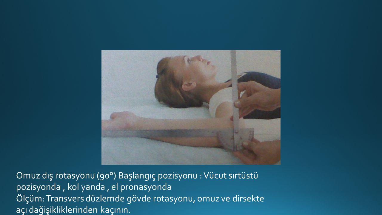 Omuz dış rotasyonu (90°) Başlangıç pozisyonu : Vücut sırtüstü pozisyonda , kol yanda , el pronasyonda