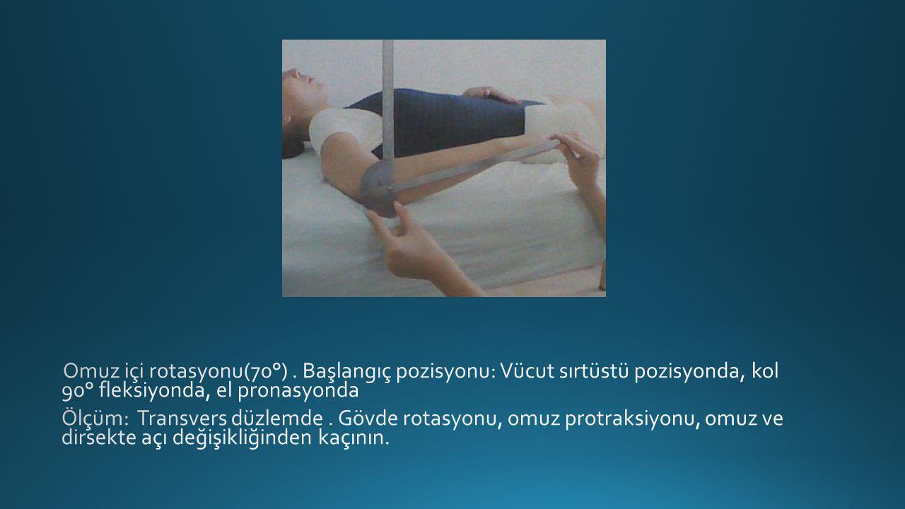 Omuz içi rotasyonu(70°) . Başlangıç pozisyonu: Vücut sırtüstü pozisyonda, kol 90° fleksiyonda, el pronasyonda