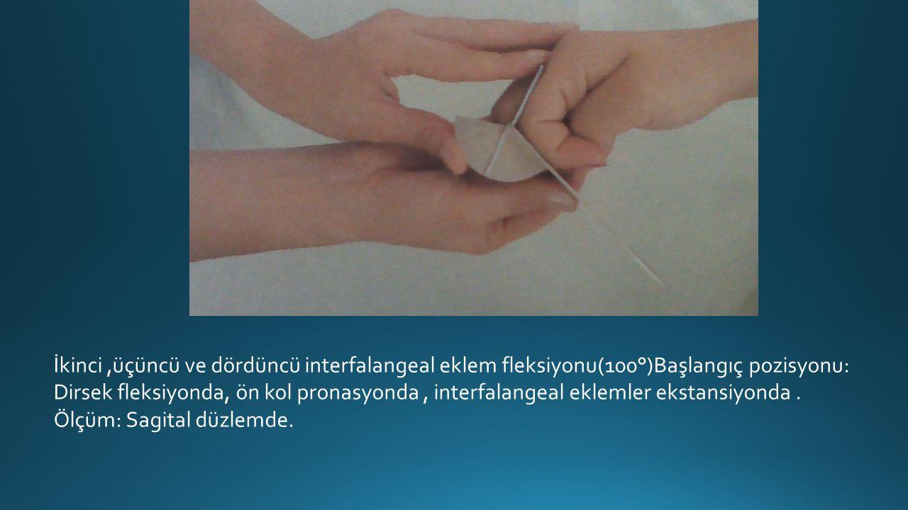 İkinci ,üçüncü ve dördüncü interfalangeal eklem fleksiyonu(100°)Başlangıç pozisyonu: Dirsek fleksiyonda, ön kol pronasyonda , interfalangeal eklemler ekstansiyonda .