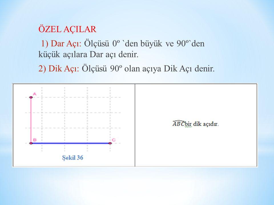 ÖZEL AÇILAR 1) Dar Açı: Ölçüsü 0º `den büyük ve 90º`den küçük açılara Dar açı denir.