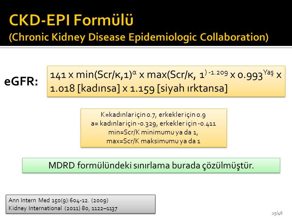 CKD-EPI Formülü (Chronic Kidney Disease Epidemiologic Collaboration)