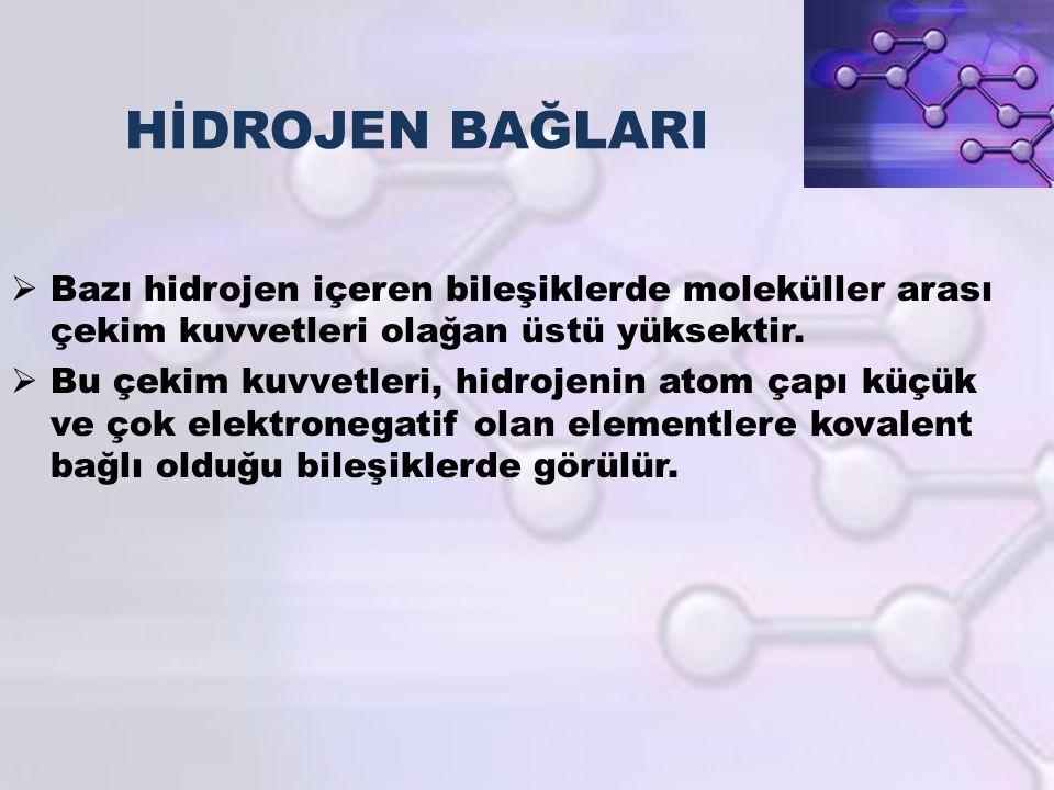 HİDROJEN BAĞLARI Bazı hidrojen içeren bileşiklerde moleküller arası çekim kuvvetleri olağan üstü yüksektir.