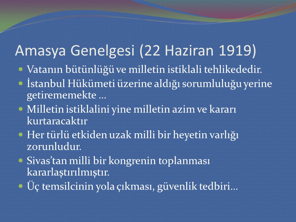 Amasya Genelgesi (22 Haziran 1919)