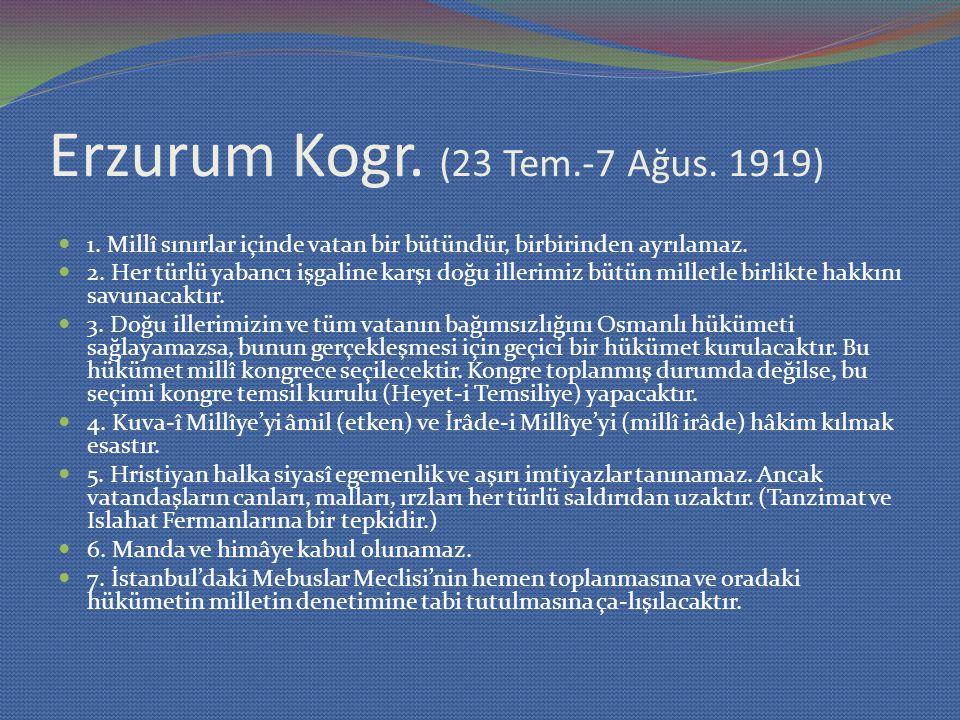 Erzurum Kogr. (23 Tem.-7 Ağus. 1919)