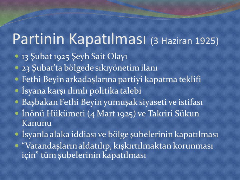 Partinin Kapatılması (3 Haziran 1925)