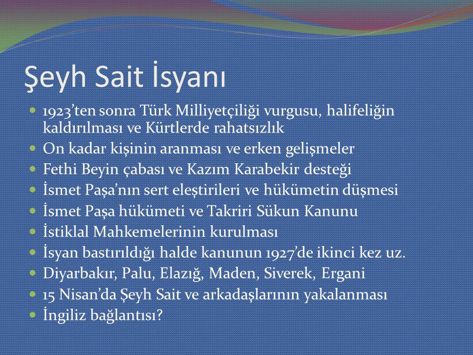 Şeyh Sait İsyanı 1923'ten sonra Türk Milliyetçiliği vurgusu, halifeliğin kaldırılması ve Kürtlerde rahatsızlık.