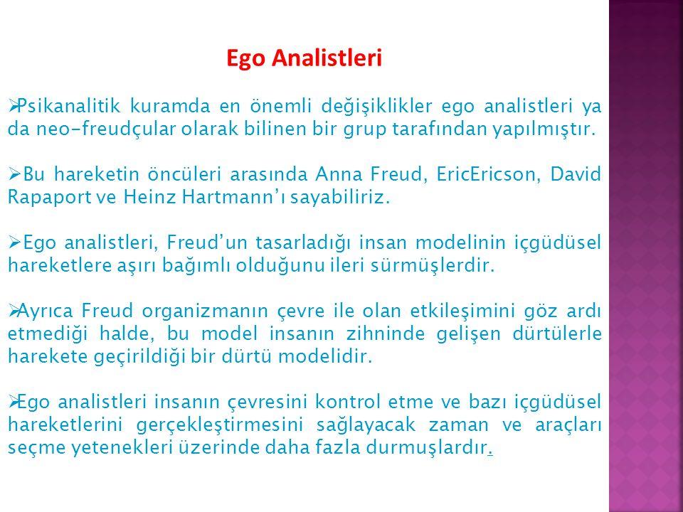 Ego Analistleri Psikanalitik kuramda en önemli değişiklikler ego analistleri ya da neo-freudçular olarak bilinen bir grup tarafından yapılmıştır.
