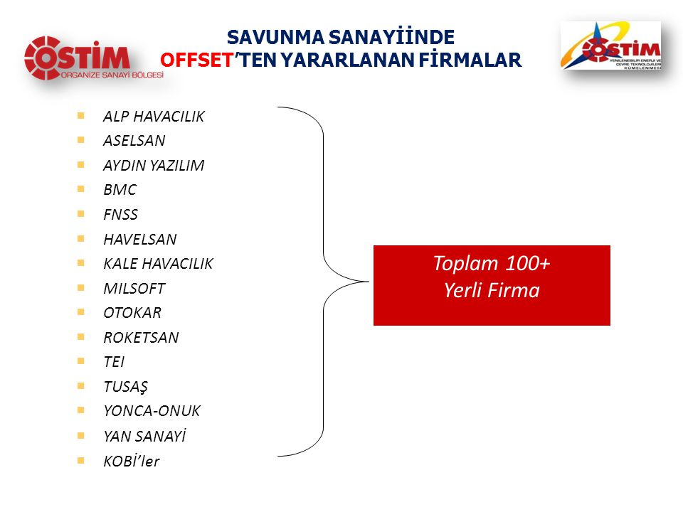SAVUNMA SANAYİİNDE OFFSET'TEN YARARLANAN FİRMALAR