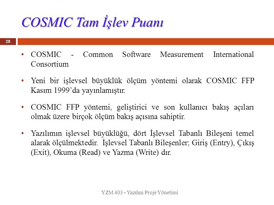 COSMIC Tam İşlev Puanı COSMIC - Common Software Measurement International Consortium.