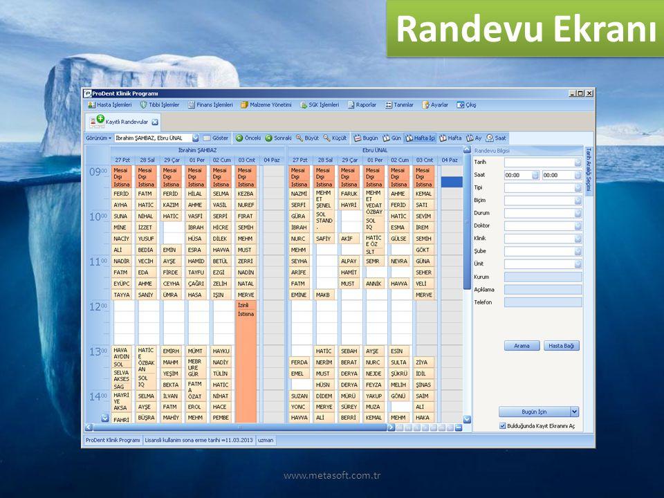 Randevu Ekranı www.metasoft.com.tr