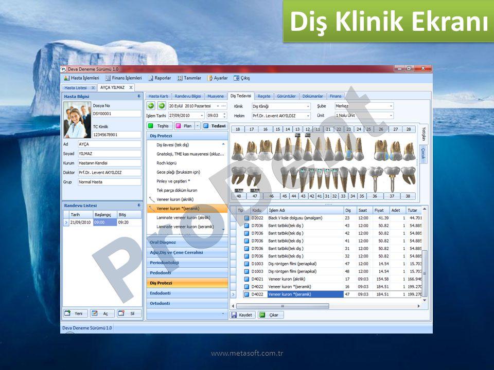 Diş Klinik Ekranı www.metasoft.com.tr