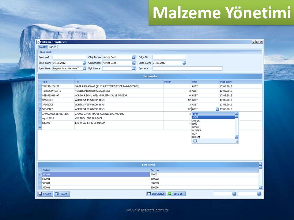 Malzeme Yönetimi www.metasoft.com.tr