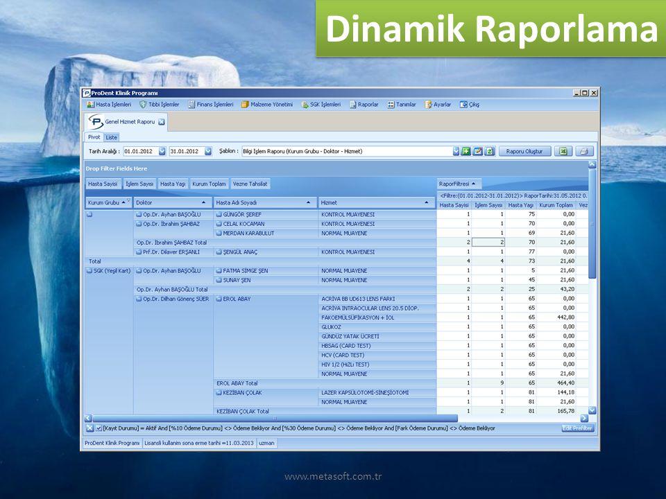 Dinamik Raporlama www.metasoft.com.tr
