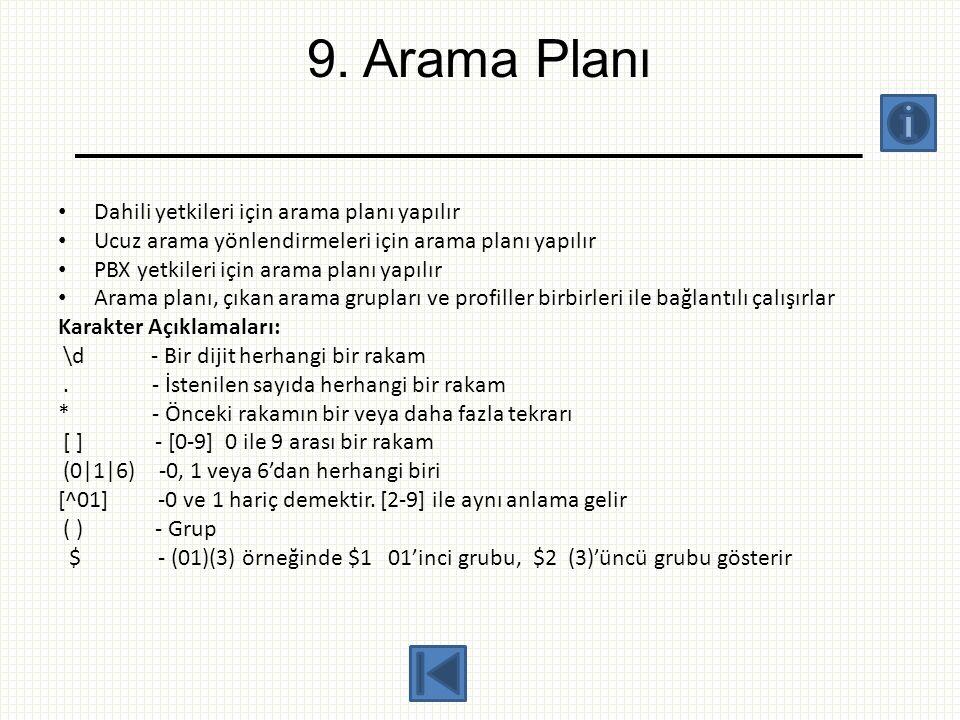 9. Arama Planı Dahili yetkileri için arama planı yapılır