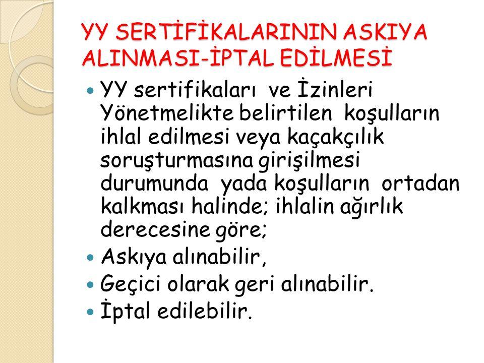 YY SERTİFİKALARININ ASKIYA ALINMASI-İPTAL EDİLMESİ