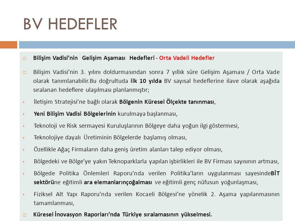 BV HEDEFLER Bilişim Vadisi'nin Gelişim Aşaması Hedefleri - Orta Vadeli Hedefler.
