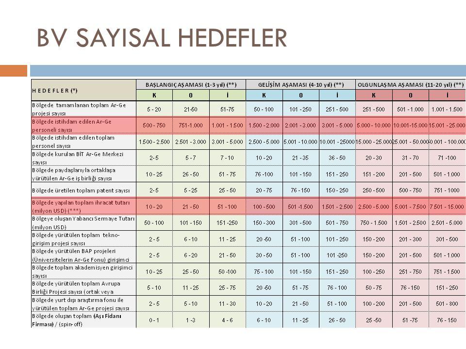 BV SAYISAL HEDEFLER