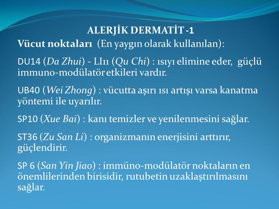 ALERJİK DERMATİT -1 Vücut noktaları (En yaygın olarak kullanılan):