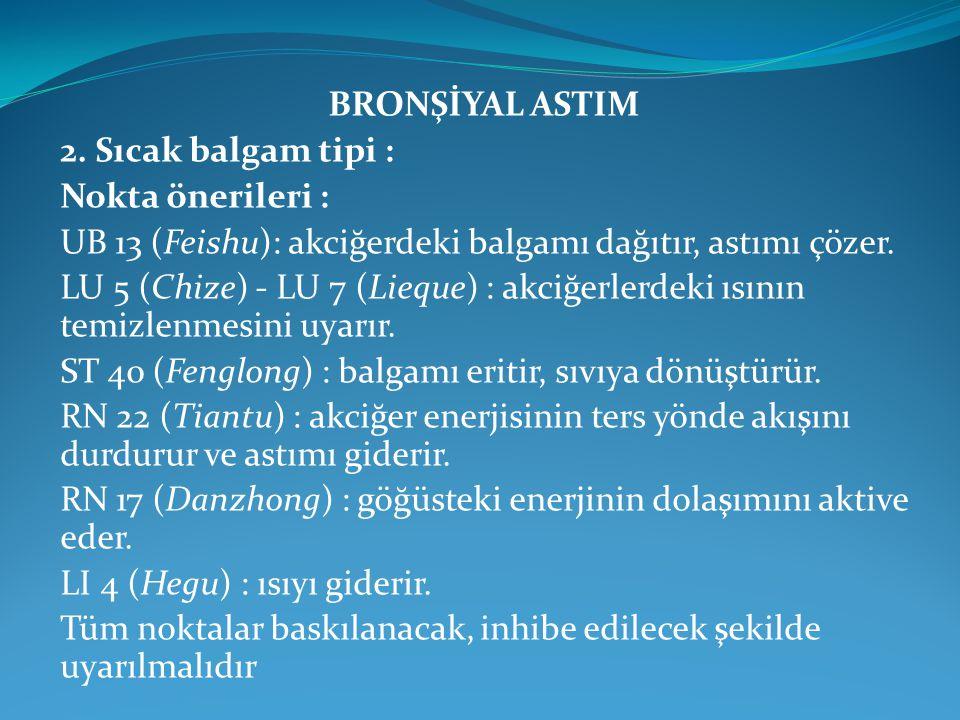 BRONŞİYAL ASTIM 2. Sıcak balgam tipi : Nokta önerileri : UB 13 (Feishu): akciğerdeki balgamı dağıtır, astımı çözer.