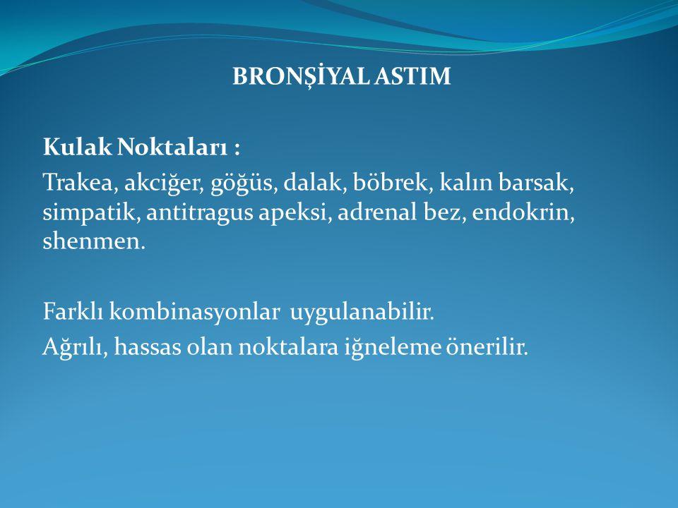 BRONŞİYAL ASTIM Kulak Noktaları : Trakea, akciğer, göğüs, dalak, böbrek, kalın barsak, simpatik, antitragus apeksi, adrenal bez, endokrin, shenmen.