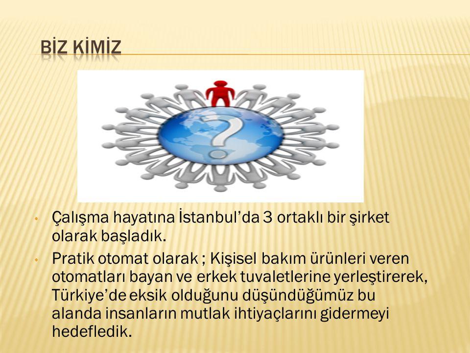 BİZ KİMİZ Çalışma hayatına İstanbul'da 3 ortaklı bir şirket olarak başladık.