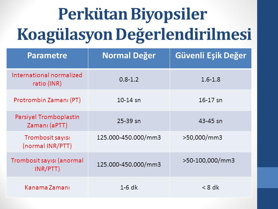 Perkütan Biyopsiler Koagülasyon Değerlendirilmesi