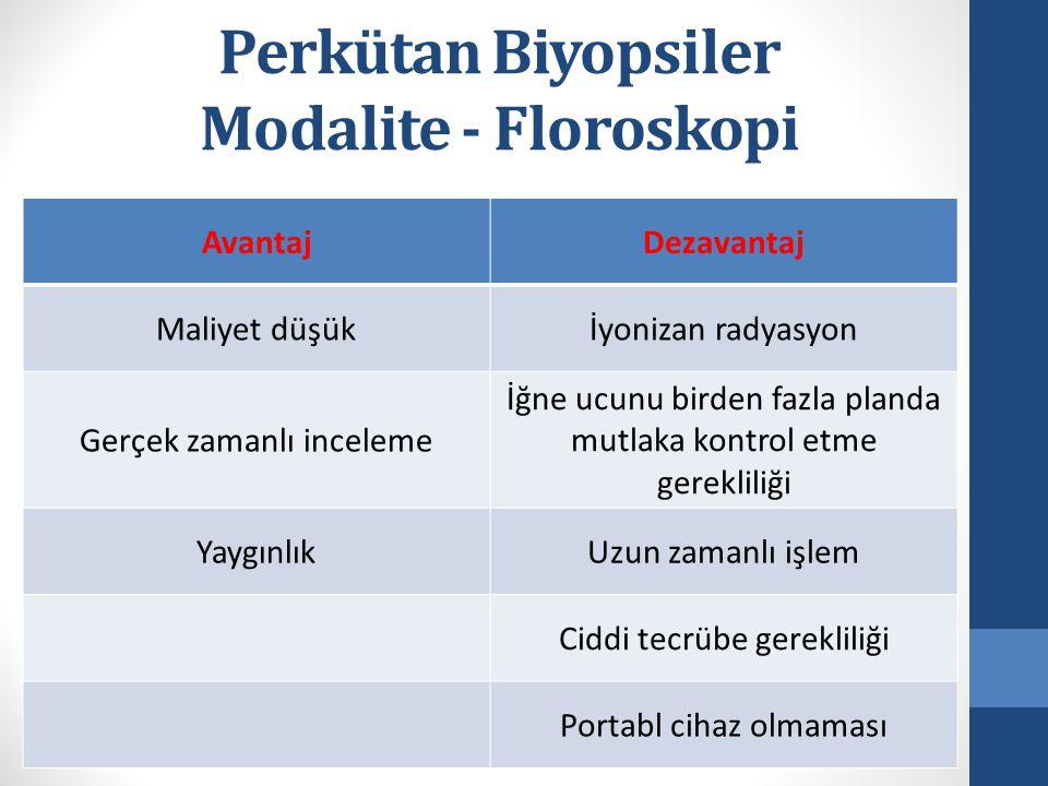 Perkütan Biyopsiler Modalite - Floroskopi