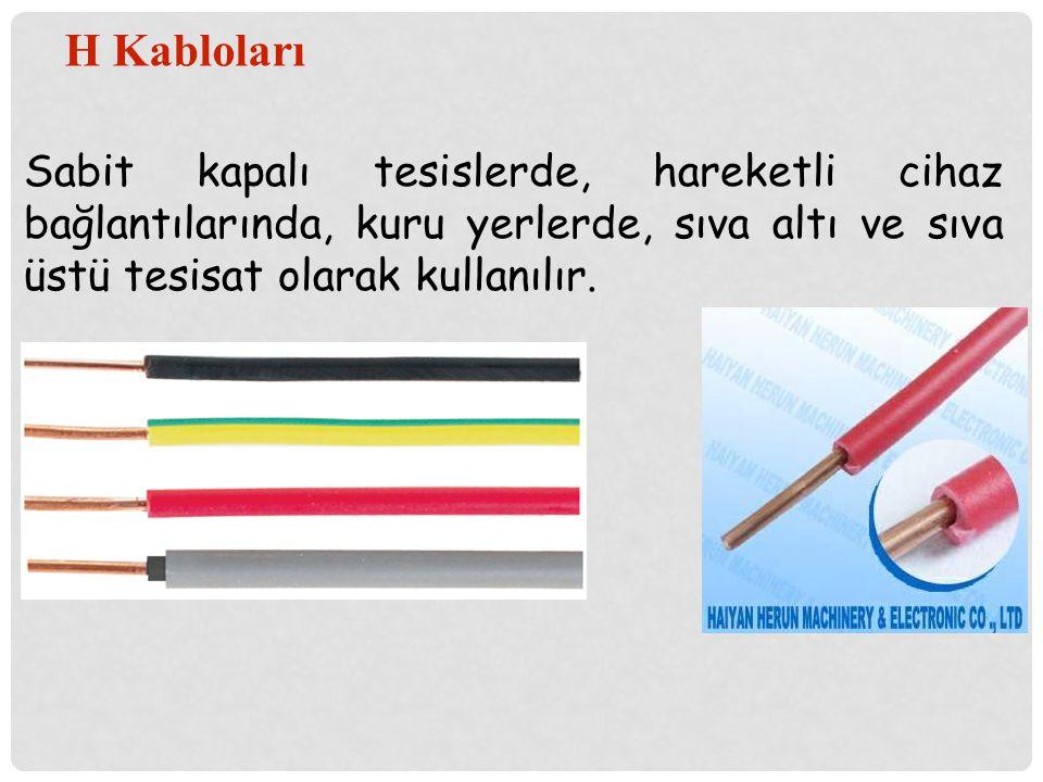 H Kabloları Sabit kapalı tesislerde, hareketli cihaz bağlantılarında, kuru yerlerde, sıva altı ve sıva üstü tesisat olarak kullanılır.