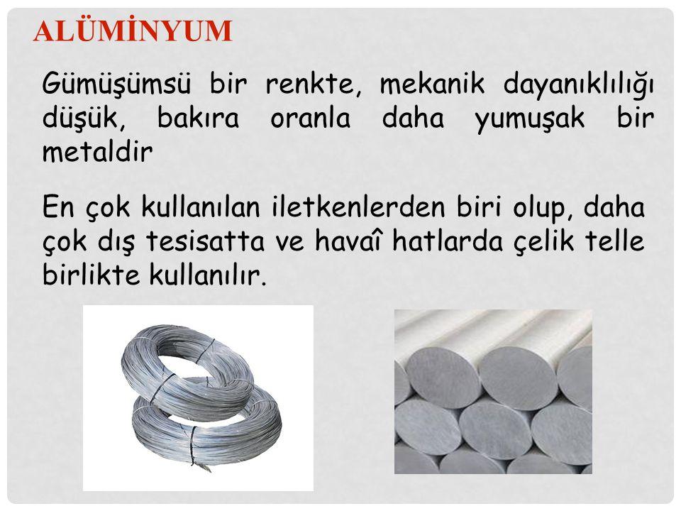 ALÜMİNYUM Gümüşümsü bir renkte, mekanik dayanıklılığı düşük, bakıra oranla daha yumuşak bir metaldir.