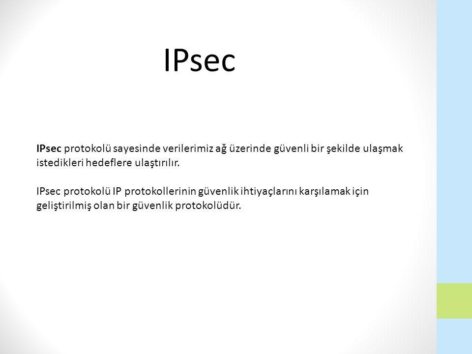 IPsec IPsec protokolü sayesinde verilerimiz ağ üzerinde güvenli bir şekilde ulaşmak istedikleri hedeflere ulaştırılır.