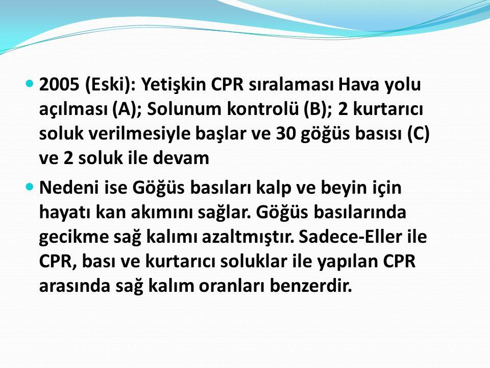 2005 (Eski): Yetişkin CPR sıralaması Hava yolu açılması (A); Solunum kontrolü (B); 2 kurtarıcı soluk verilmesiyle başlar ve 30 göğüs basısı (C) ve 2 soluk ile devam