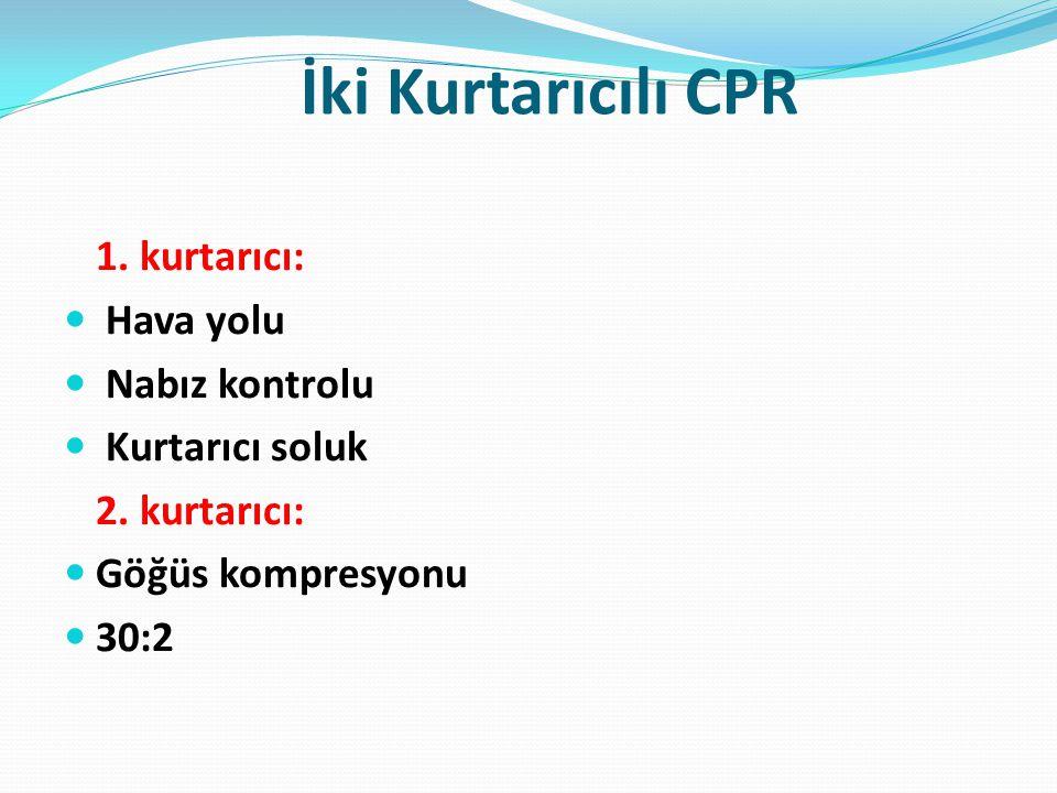 İki Kurtarıcılı CPR 1. kurtarıcı: Hava yolu Nabız kontrolu